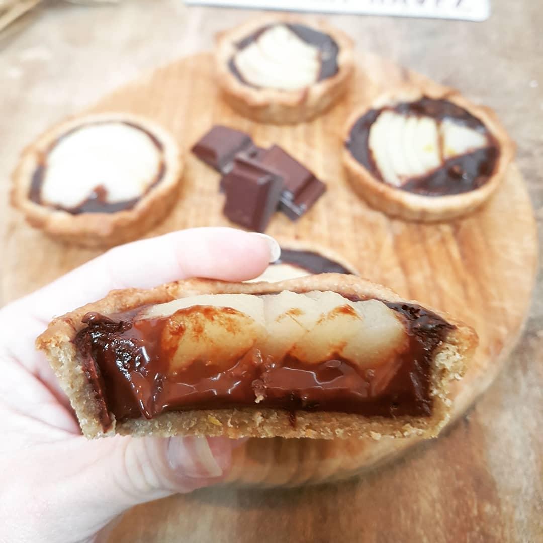 Tartelette Choco, Poires sans beurre, Healthy