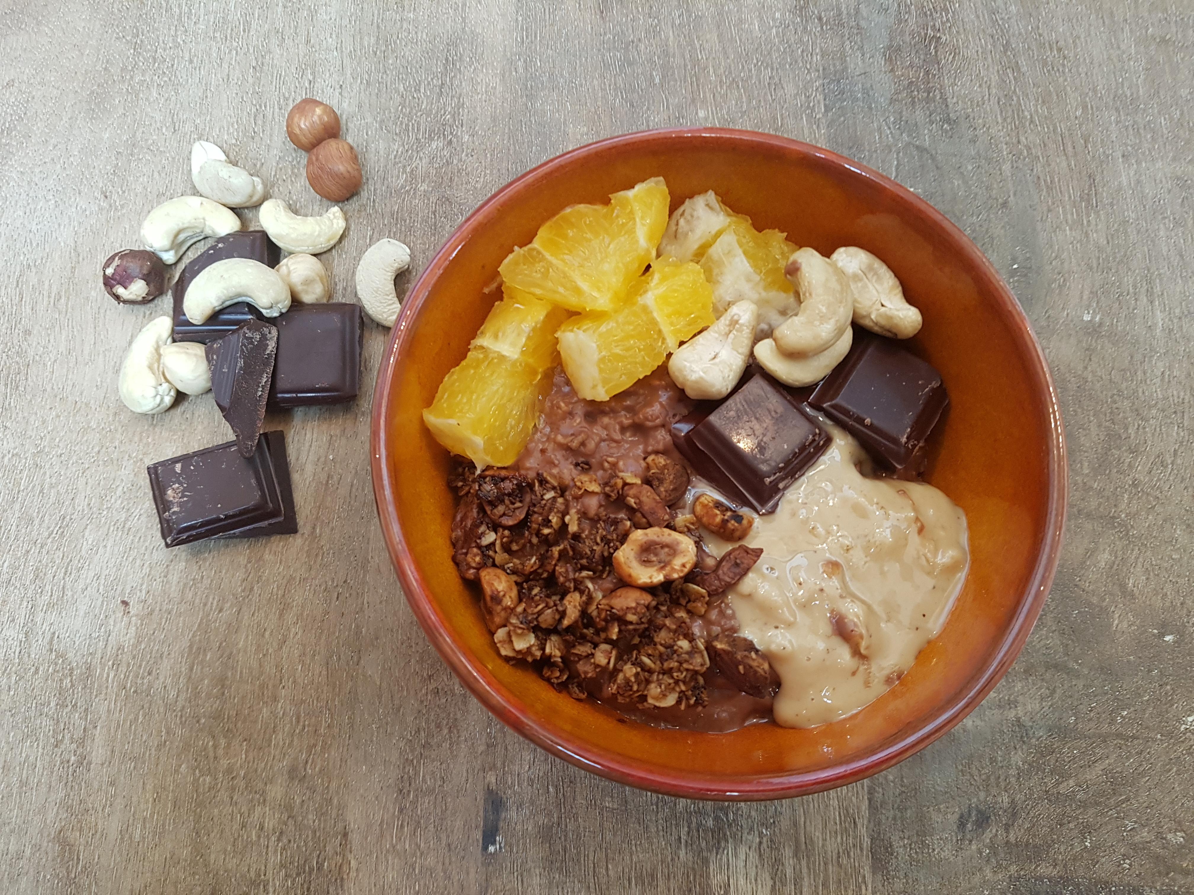 Porridge chocolat et orange